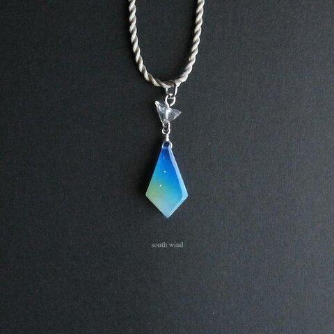 【天空星(Blue)】シルクコードネックレス(Light gray)