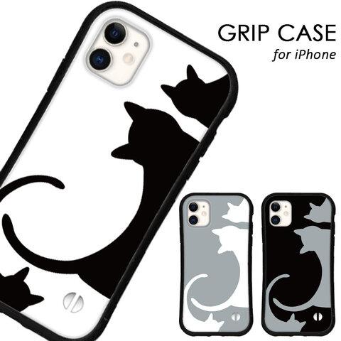 送料無料 iPhoneケース iPhone12 13 pro mini iPhone11 xr xs se 第二世代 iface型 カバー スマホケース グリップケース アイフォン 猫 ネコ