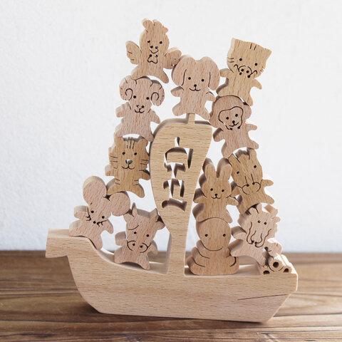「宝船にのった干支 おぼえ隊」 正月飾り 知育 木 干支小物 置物 2021年 丑