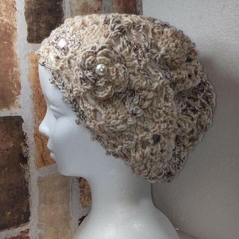 ウール・パイン編み・ニット帽(茶色、ベージュ、生成り等の混ざり糸)ベレー帽、パイン編み、透かし編み、手編み、ハンドメイド