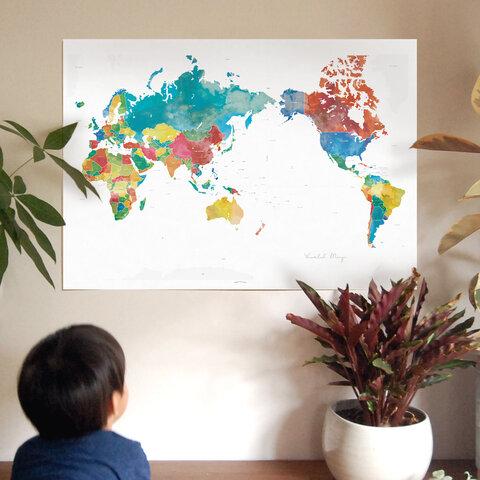 リビングから旅しよう!【カラフル世界地図ポスター】 A2サイズ or B2サイズ