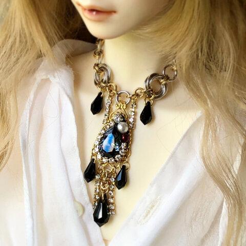 【ドール用】ネックレス 黒×金×銀 星空