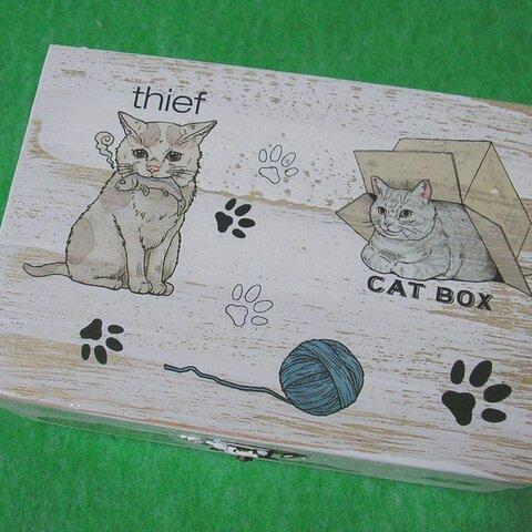 木製小物入れ ジュエリーボックス 猫たち 青い毛糸玉