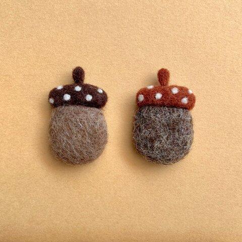 水玉帽子のどんくり 羊毛フェルト ブローチ