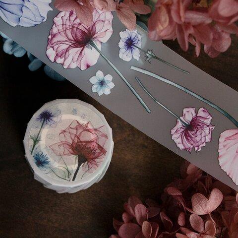★再入荷★[樂意] [LY-060P] 塵花(透明花) 花柄 PETマスキングテープ(剥離紙付き)