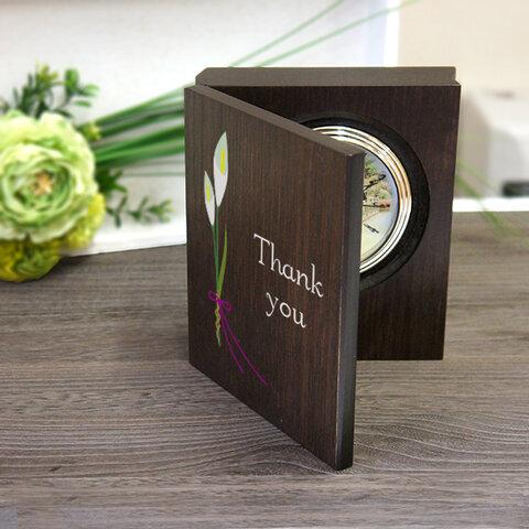 感謝のブック型置き時計 「カラーリリー」オーダーメイド 子育て修了証  子育て感謝状 結婚式両親へプレゼント 記念品贈呈