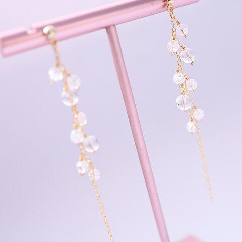 ピュアバブル/天然水晶のピアス Pure Bubbles Crystal pierced earrings P0086
