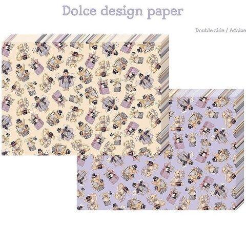 マジシャンベアー パープル  A4 デザインペーパー 韓国作家 海外デザインペーパー