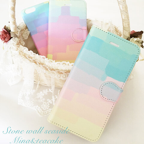 セール!iPhone6plus/6splus Stone wall Seaside手帳型スマートフォンケース