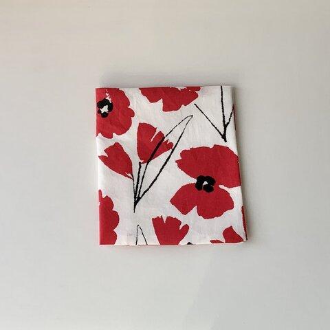 赤花柄/マスクケース ハンドメイド サニタリーケース