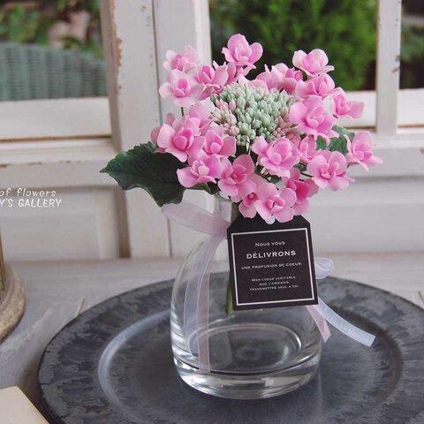八重咲きガクアジサイをシンプルガラスボトルに飾って・・・ピンク 高さ約19センチ A528
