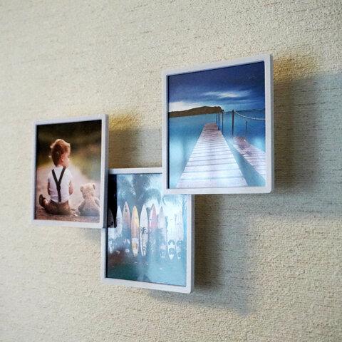 ★透明板付★壁から浮いたように見えるスクエアフォトフレーム(3個セット)