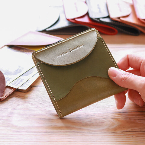 栃木レザー 本革 薄型 カード 札入れ OLIVE 48