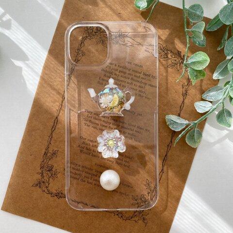 iPhone ケース ❤︎   Tea pot  〜ハーブレモンティー     秘密のお茶会  ドライフラワー 透明 レモン ティーポット