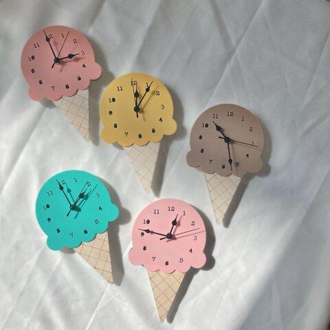 【 アイスクリーム 時計 】 掛け時計 アイス 子供部屋インテリア 子ども部屋インテリア キッズルーム ベビースペース 子ども部屋 壁掛け 壁掛け時計 時計 子ども時計 キッズ時計 パステル くすみ