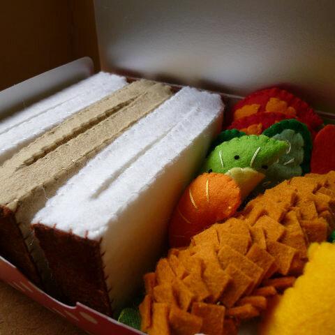【再販×5】フェルトのおもちゃ サンドイッチのおべんとBOX