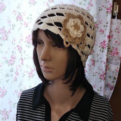 201☆コットン100%コサージュつきの帽子
