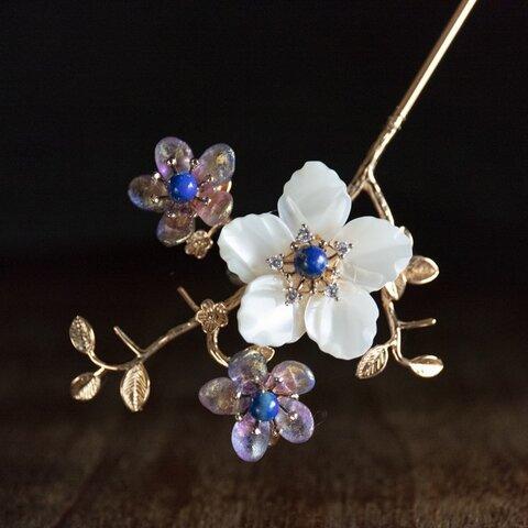 馬蹄螺貝細工の桜と天然石のかんざし ヘアアクセサリー 和装髪飾り 簪