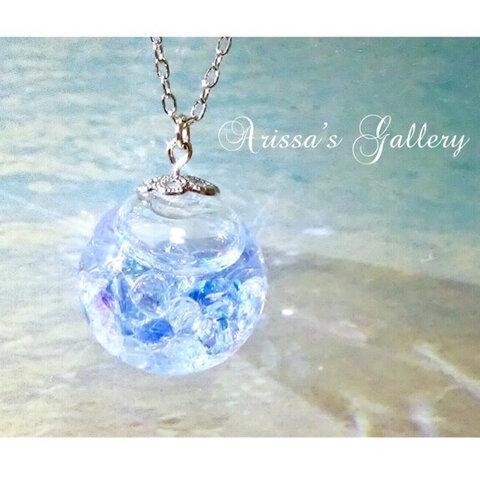 ♡海の宝石箱♡スノードームネックレス《スワロフスキー》*ガラスドーム