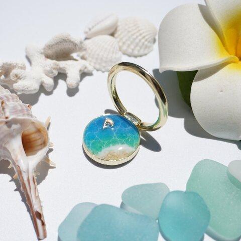 海のスマホリング(ゴールド枠×ブルーグリーン)