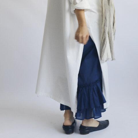 最終SALE。88cm丈『大人甘めのふりフリル パンツ』シルキーコットン100%ポプリン素材 前クロス ペチ パンツ H07A