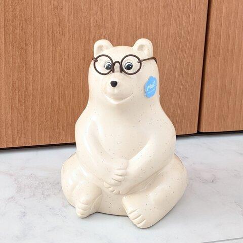 【再販】『新色』しろくま貯金箱 メガネ 茶色 しろくま貯金箱メガネ めがね ワイヤーメガネ 人形めがね 茶色メガネ ミニチュア ブラウン