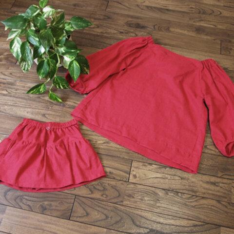【SALE&送料無理】【リンクコーデ】ママのブラウスとお子様のスカート付きショートパンツ