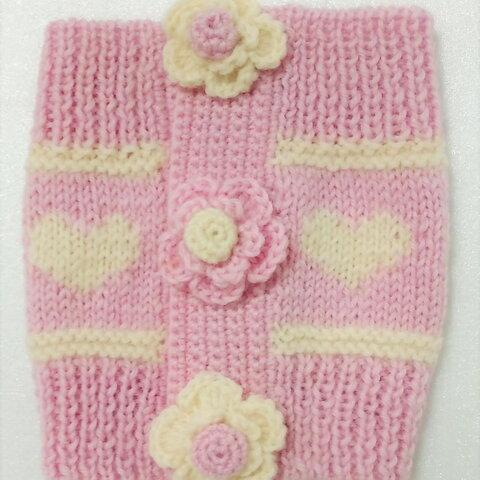 ピンクに花のモチーフがかわいい腹巻です(腹巻-19)
