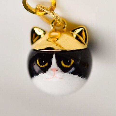 受注生産 ニャンコバッグチャーム『猫王子』ゴールデン白黒猫 ハチワレ