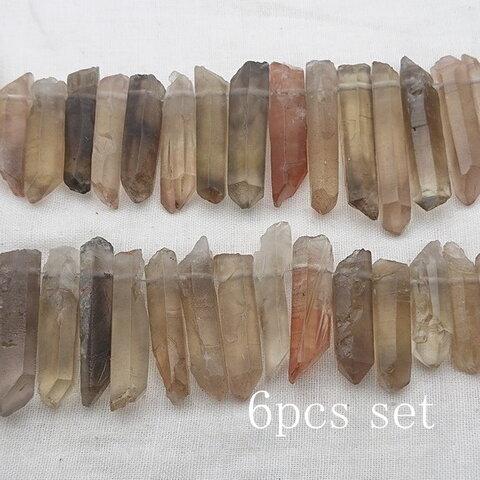【再販】6個セット! 太めミドル~大サイズ フロストスモーキークォーツ 氷柱ビーズ   天然石 クリスタル