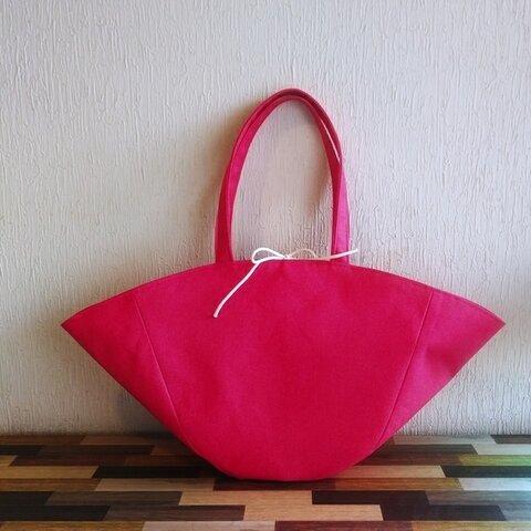 帆布のバスケット風トートバッグ(ピンク×マリンストライプ)