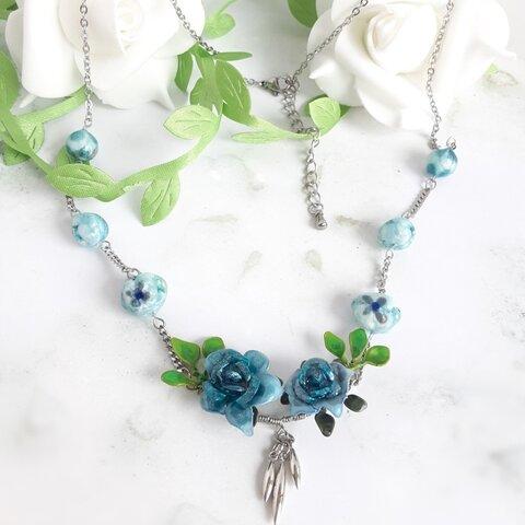 青薔薇のネックレス(サージカルステンレス)
