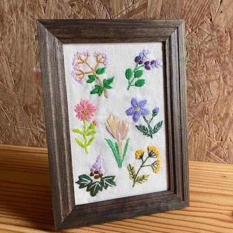 秋の七草 フレーム付き刺繍飾り