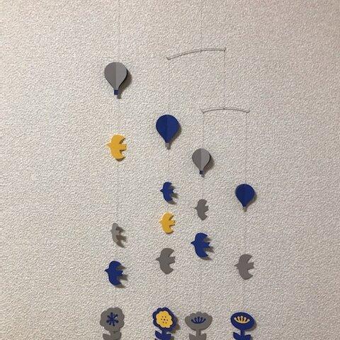 花と鳥と気球のモビール(BU)
