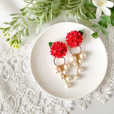 2Wayで楽しむ真っ赤なお花のイヤーカフ コットンパール
