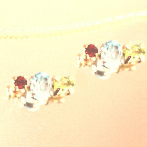 k18gp- akinomi - Garnet & Blue Topaz & Peridot Earrings