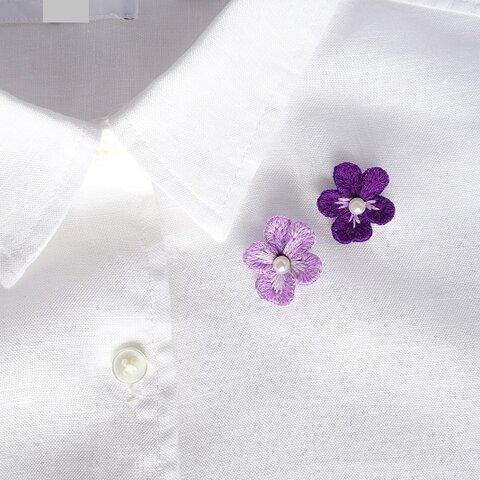 刺繍のブローチ ビオラ スミレ