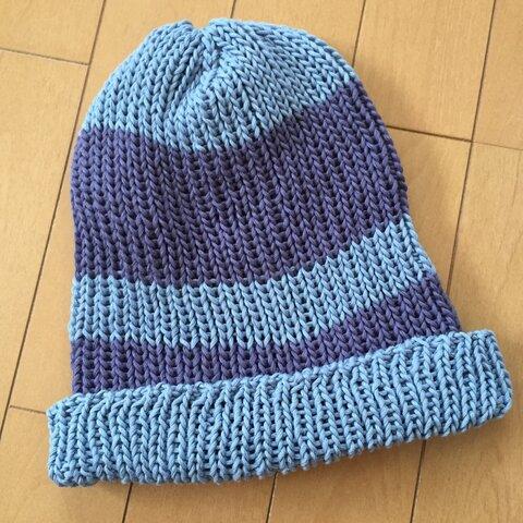 2色のコットンニット帽