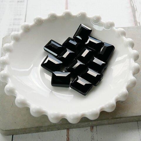 【473p-c1】4pcs  スクエアカット 美ガラスビーズ ブラック 12×9.5mm