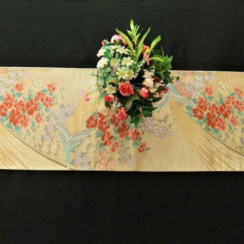 【⑯0625】88cm/帯リメイク品/鳳凰・牡丹/テーブルランナー等多方面