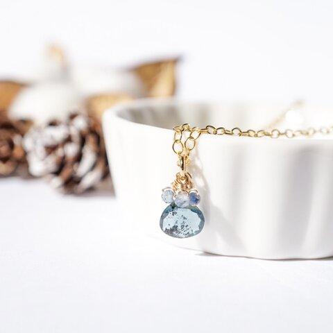 『天空の泪』サファイア×モスカイヤナイト くすみブルーの天然石 9月誕生石 華奢な揺れるネックレス