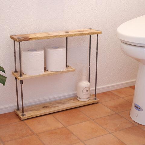 アイアン ラック トイレ 収納棚 棚 シェルフ 鉄 木 アンティーク ビンテージ シャビー インダストリアル ウッド 家具 オープンラック 両面棚
