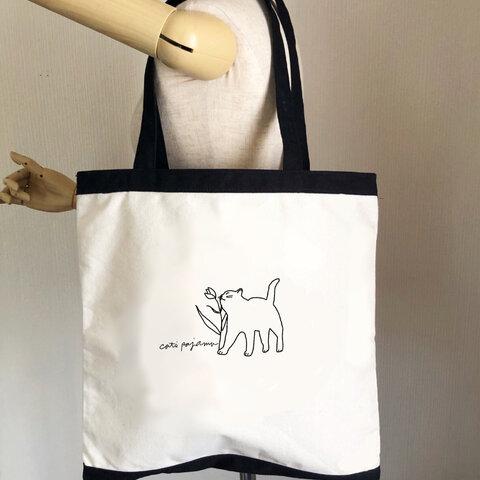 猫ちゃんのイラストトートバッグ