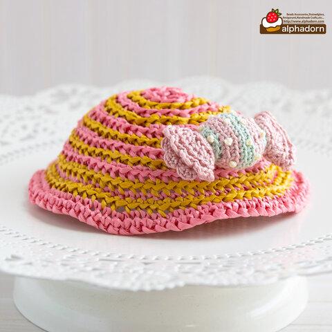 あみぐるみキャンディのブローチがついたドールのためのストライプ帽子PKYL(穴あり)