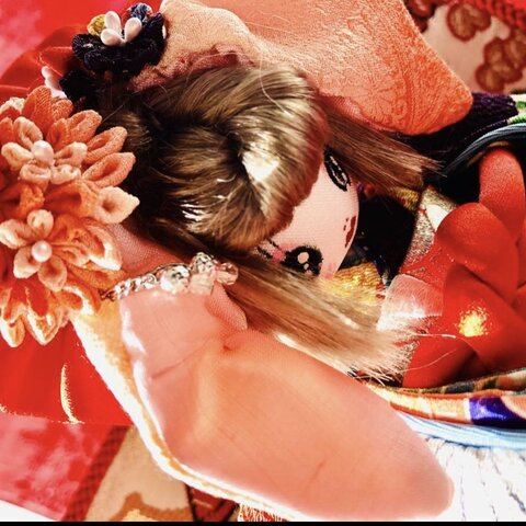 ☆*文化人形 夢のや*秋姫 創作うさ耳お着物文化人形  つまみ簪・屏風に秋景色♪