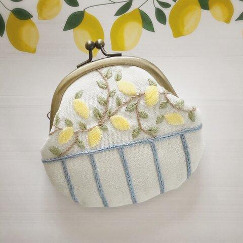 〈刺繍キット〉レモンのがまぐち
