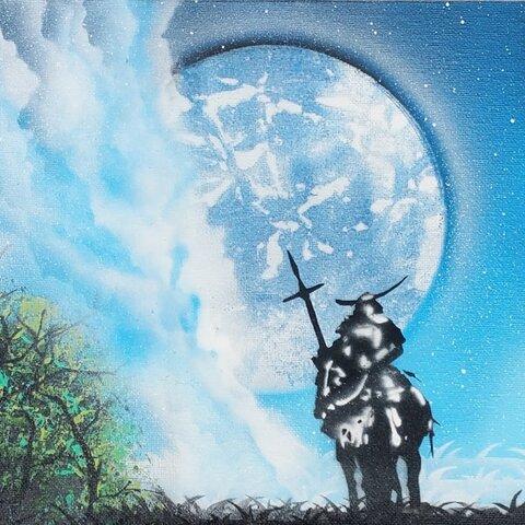 騎馬武者と青い月9×12in