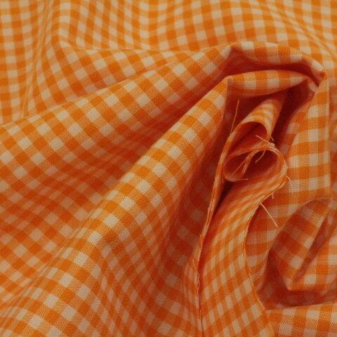 ギンガムチェック #209 オレンジ色、110㎝幅×50㎝