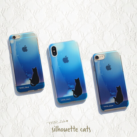 iPhone ケース 【 ブルー 黒猫 】クリアハードケース シルエット iPhone13 iPhone12 iPhone12mini iPhone8 iPhone11 他各機種対応