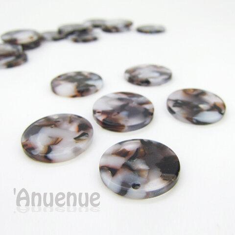 アセテート樹脂 ラウンドプレート 直径20mm【 Marble brown 】4個